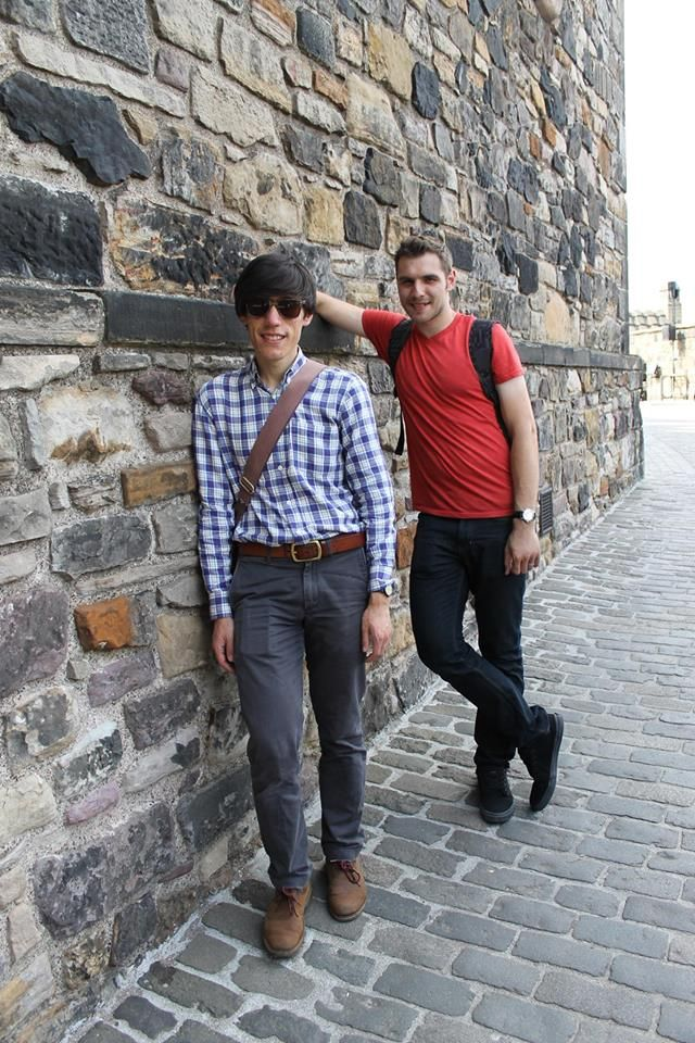 Tim and John visiting Edinburgh Castle in July