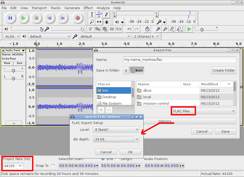 Audacity Export Settings